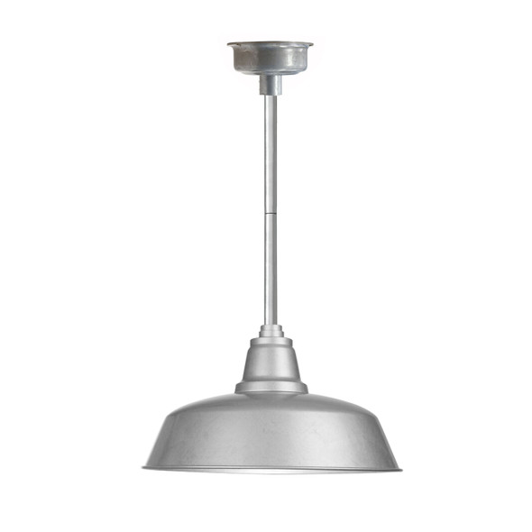 """16"""" Goodyear LED Pendant Light in Galvanized Silver with Galvanized Silver Downrod"""