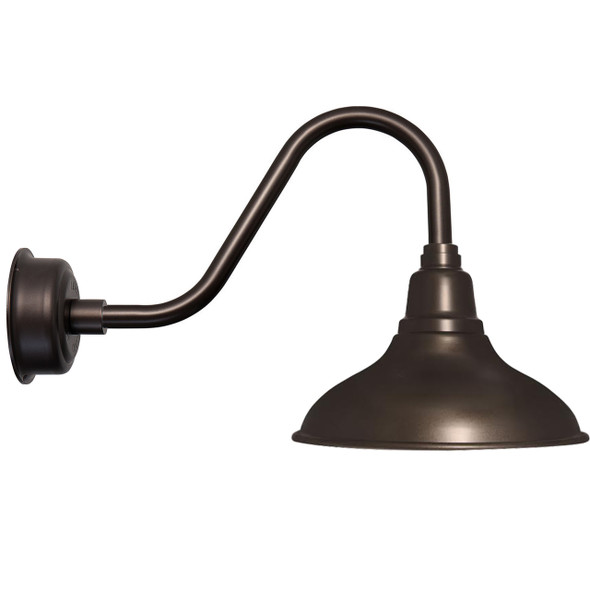 "12"" Dahlia LED Barn Light with Rustic Arm in Mahogany Bronze"