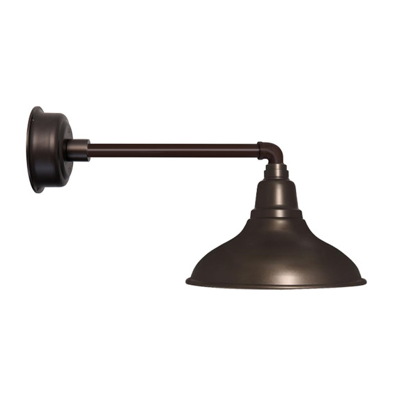 "12"" Dahlia LED Barn Light with Metropolitan Arm in Mahogany Bronze"