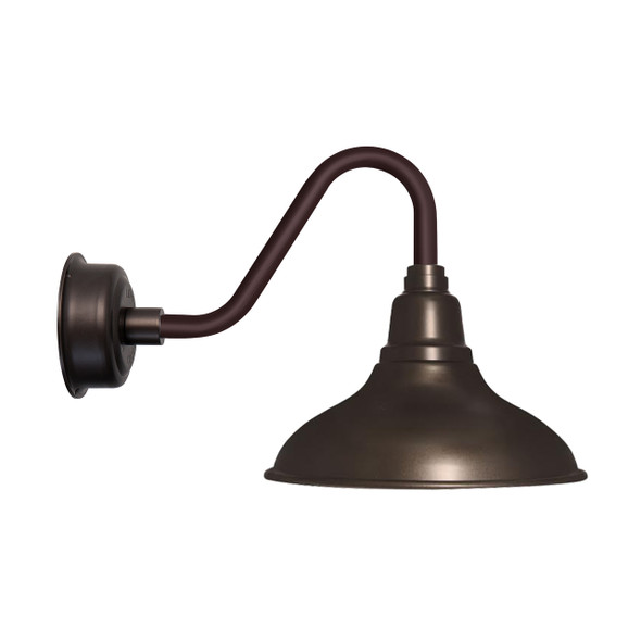 "12"" Dahlia LED Barn Light with Vintage Arm in Mahogany Bronze"