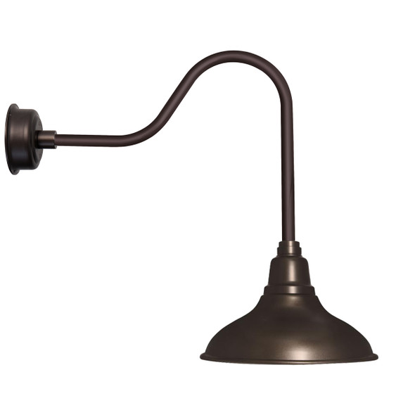 "8"" Dahlia LED Barn Light with Sleek Arm in Mahogany Bronze"