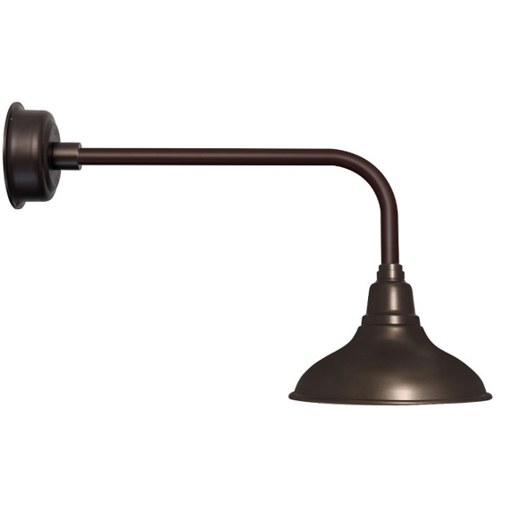 "8"" Dahlia LED Barn Light with Traditional Arm in Mahogany Bronze"
