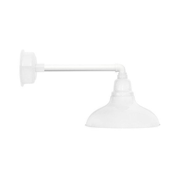 "12"" Dahlia LED Barn Light with Metropolitan Arm in White"