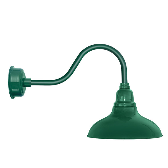 "12"" Dahlia LED Barn Light with Contemporary Arm in Vintage Green"