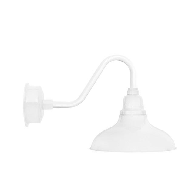"""8"""" Dahlia LED Barn Light with Vintage Arm in White"""