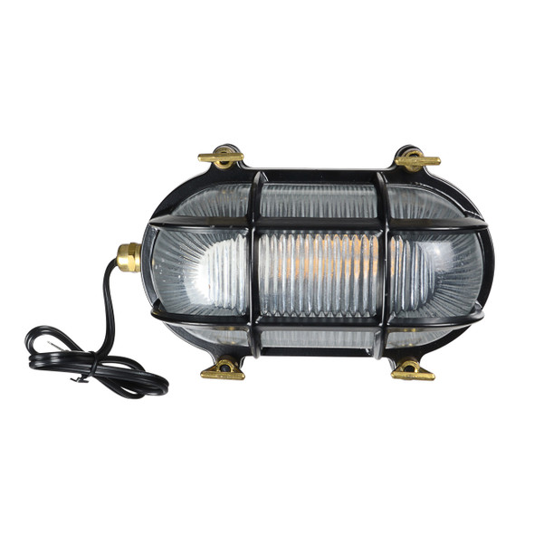 Ceduna Nautical Bulkhead Light in Black (AM-G526-BK)