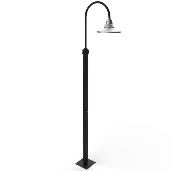 """8 ft Calla Vintage Street Post Lamps with 12"""" Shade - Galvanized Silver"""