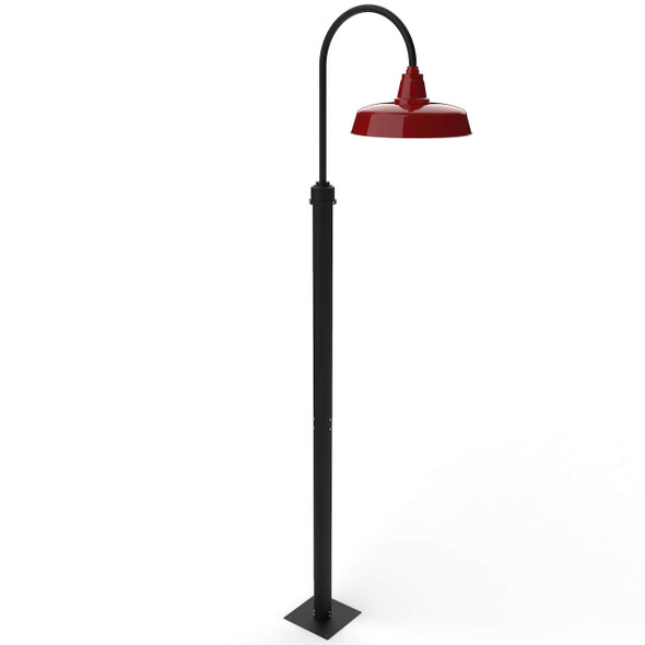 """Post light with 16"""" shade - cherry red"""