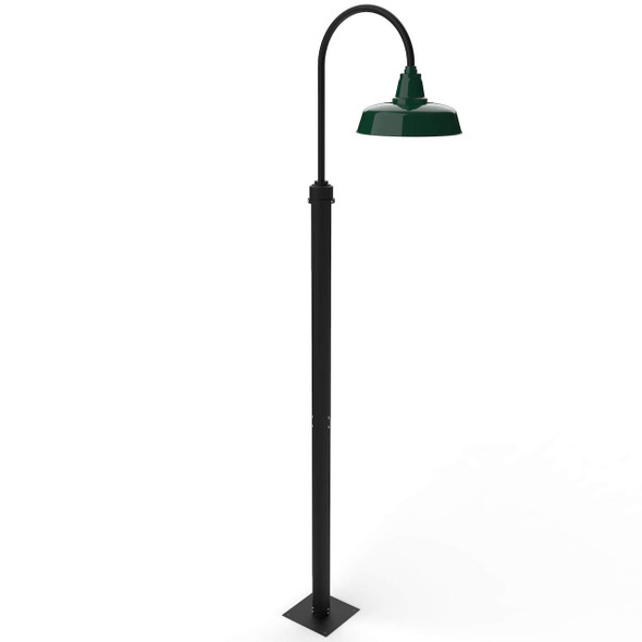 """11 ft Goodyear Outdoor LED Post with 14"""" Shade - Vintage Green"""