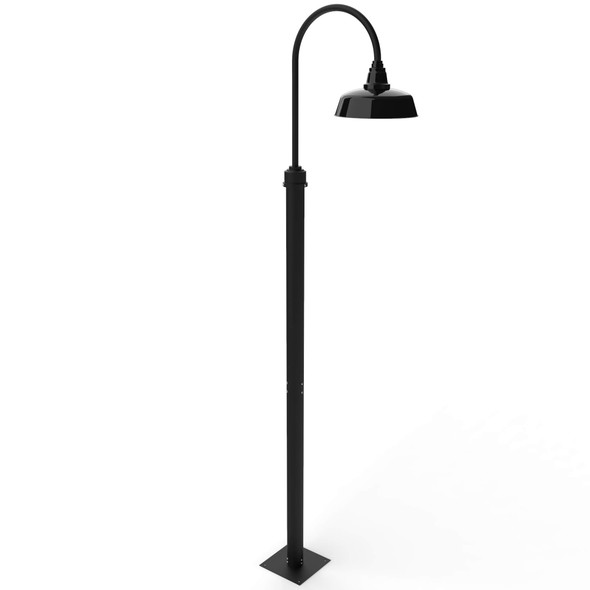 """11 ft Goodyear Barn Post with 12"""" Shade - Black"""