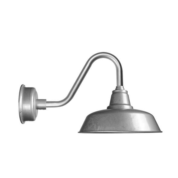 "Cocoweb 10"" Galvanized Silver Barn Light with Vintage Arm"