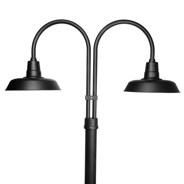 Double post light with shade in black finish