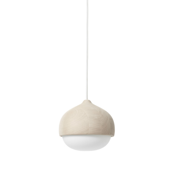 Terho Pendant - Matt lacquered FSC certified Linden Wood, White Opal Glass, Medium