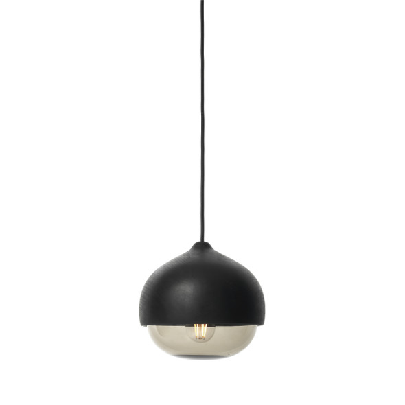 Terho Pendant - Black lacquered FSC certified Linden Wood, Smoked Transparent Glass, Medium