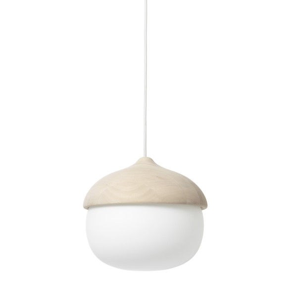 Terho Pendant - Matt lacquered FSC certified Linden Wood, White Opal Glass, Large