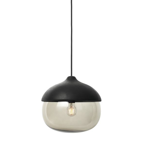 Terho Pendant - Black lacquered FSC certified Linden Wood, Smoked Transparent Glass, Large