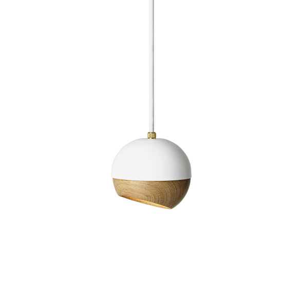 Ray Pendant Lamp - White Painted Steel, Natural FSC certified Oak Shade, Small