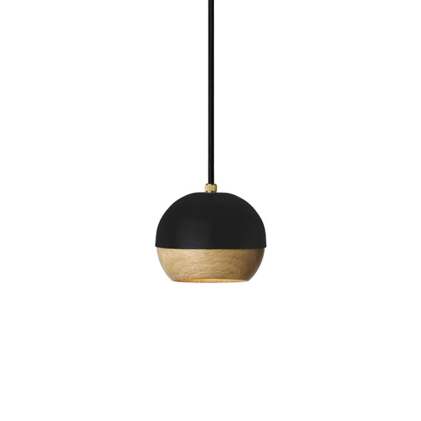 Ray Pendant Lamp - Black Painted Steel, Natural FSC certified Oak Shade, Small