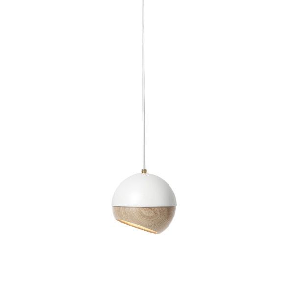 Ray Pendant Lamp - White Painted Steel, Natural FSC certified Oak Shade, Medium