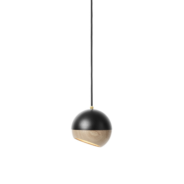 Ray Pendant Lamp - Black Painted Steel, Natural FSC certified Oak Shade, Medium