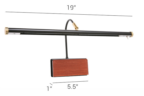 """Dimensions For 19"""" GPLED19-7PW Grand Piano Black/Wood Lamps"""