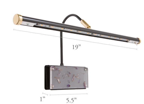 """Dimensions For 19""""GPLED19-7F LED Grand Piano Black/Flower Lamp"""
