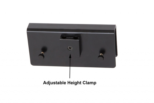 """Front View of Adjustable Height Clamp for 22"""" LED Grand Piano Lamp- Black/Flower Plated"""