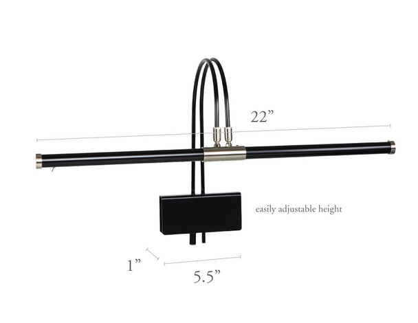 "Dimensions of 22"" Black with Satin Nickel Accents Piano Lamp"
