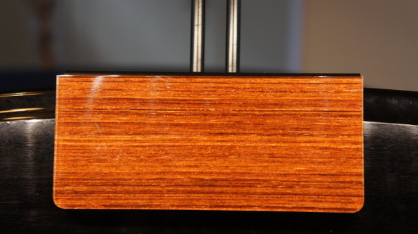 "Zoom View of Adjustable Height Clamp for 22"" LED Grand Piano Lamp- Black/Mahogany Cherry Wood Plated"