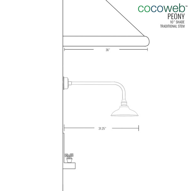 "Cocoweb 10"" shade with traditional stem dimension"