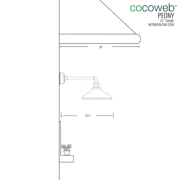 "Cocoweb 12"" shade with metropolitan stem dimension"