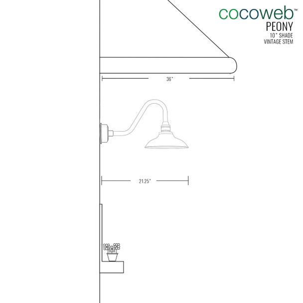 "Cocoweb 10"" shade with vintage stem dimension"