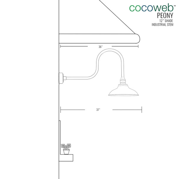 "Cocoweb 10"" shade with industrial stem dimension"