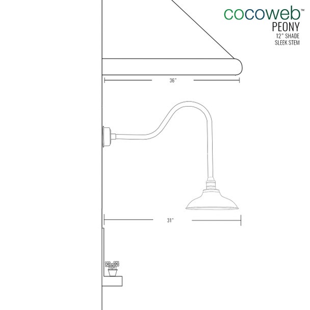 "Cocoweb 12"" shade with sleek stem dimension"