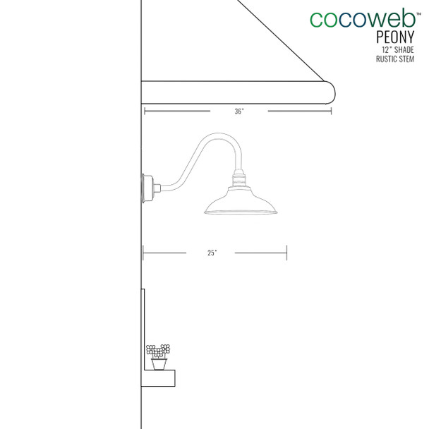 "Cocoweb 12"" shade with rustic stem dimension"