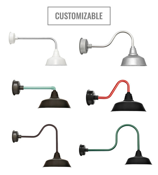 Customizable Cocoweb Goodyear Barnlights in white, galvanized silver , black and other variations