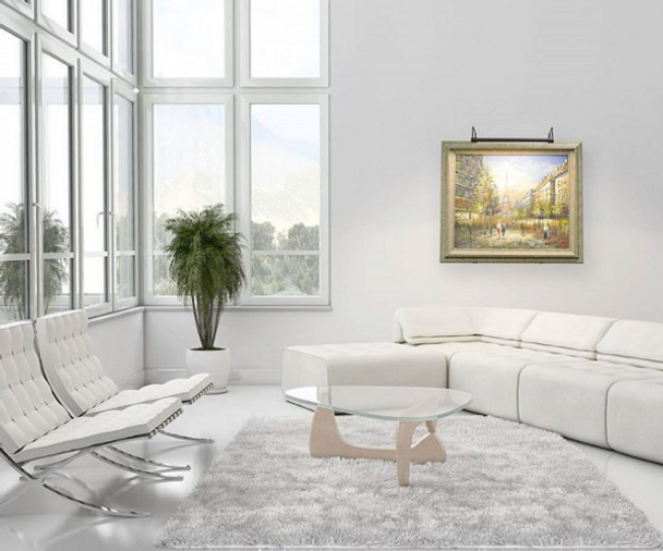 """Demonstration: Battery Operated Tru-Slim 43"""" Oil Rubbed Bronze LED Picture Light Mounted on Painting in Living Room"""