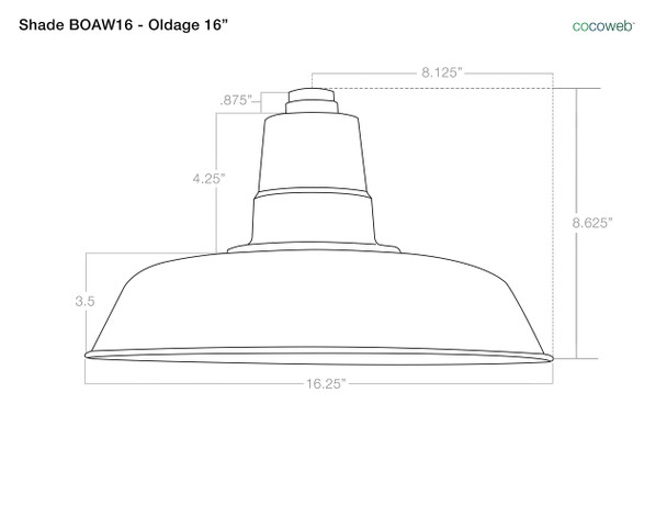 """Dimensions For 16"""" Oldage Barn Light Shade"""