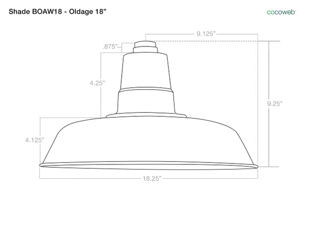 """Dimensions For 18"""" Oldage Barn Light Shade"""