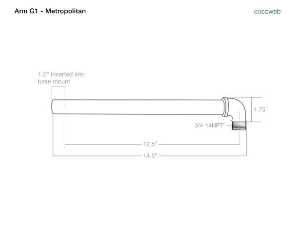 Dimensions For Barn Light Arm G1 Metropolitan