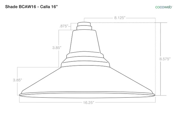 "Dimensions For Barn Light Shade BCAW16 Calla 16"""