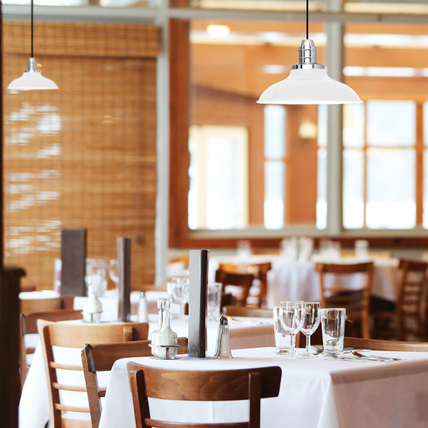 White Peony LED Barn Pendant Light Dining Room Lifestyle  6