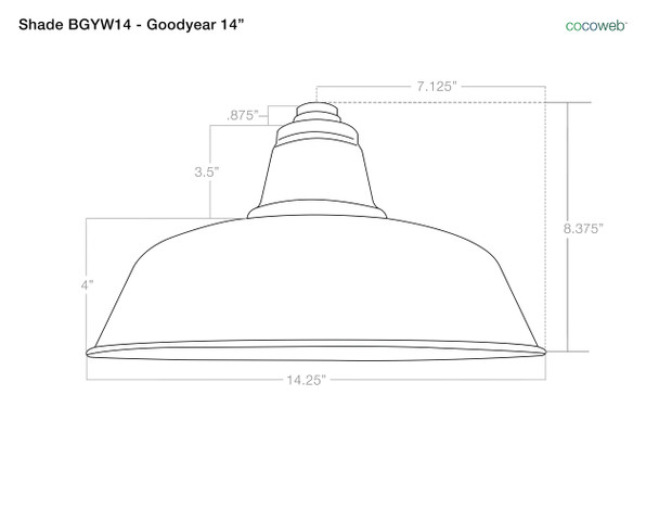 "Dimensions For Barn Light Goodyear 14"" Shade"
