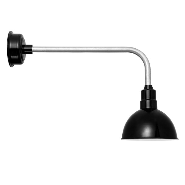 "Traditional Black 8"" BlackSpot with Galvanized Silver LED Barn Light"
