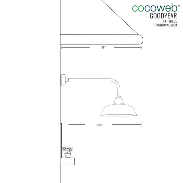 "Goodyear Indoor/Outdoor 14"" Traditional Black LED Barn Lights"