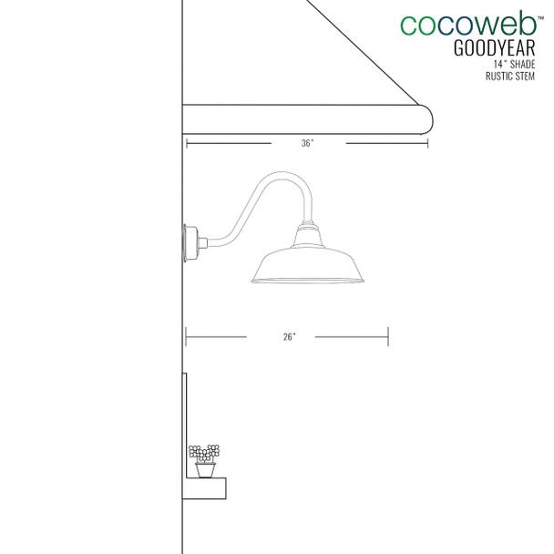"""14"""" Black Rustic Goodyear Indoor/Outdoor LED Barn Lights"""