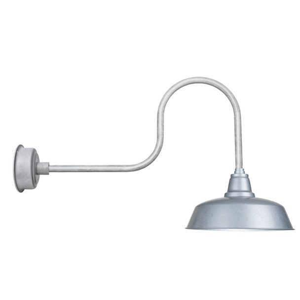 "Industrial Galvanized Silver 14"" Goodyear LED Indoor/Outdoor Barn Lights"