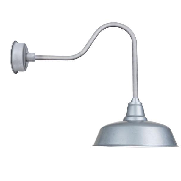 "Goodyear Indoor/Outdoor 14"" Sleek Galvanized Silver LED Barn Lights"