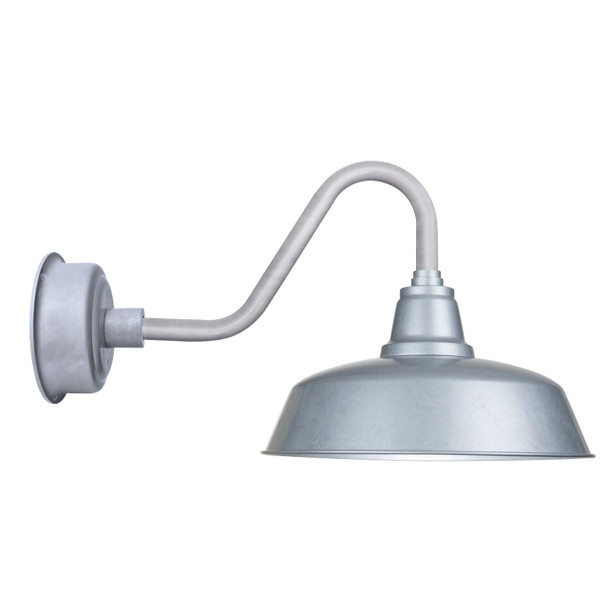 "Goodyear Indoor/Outdoor 14"" Galvanized Silver Vintage LED Barn Lights"