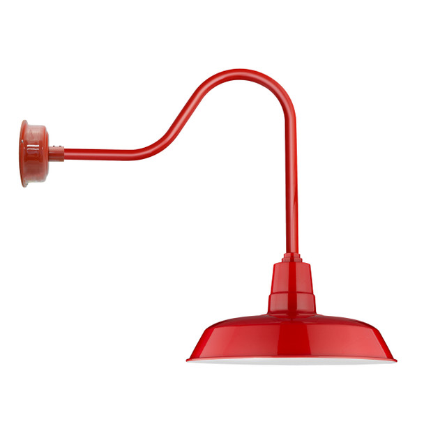 "16"" Indoor/Outdoor Sleek Oldage Cherry Red LED Barn Light"
